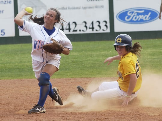 Allison Frye (4) tries to turn a double play in a game against Mississippi College while playing as an infielder at Louisiana College.