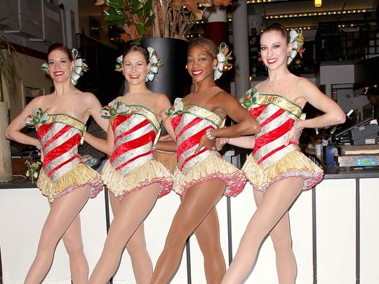 Rockettes Nicole Schuman, Candace Jablonski, Nikki Hester of Westfield, and Maranda LeBars pose at a promotional event at City Bakery in New York.