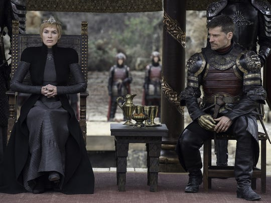 Queen Cersei Lannister (Lena Headey), left, presides at the dragon pit as her brother, Jaime (Nikolaj Coster-Waldau) watches.