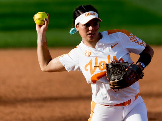 Tennessee infielder Meghan Gregg (55) throws to first during a game between Tennessee and Georgia at Sherri Parker Lee Stadium in Knoxville, Tennessee on Saturday, March 31, 2018.