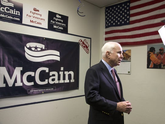 Sen. John McCain is interviewed after his campaign