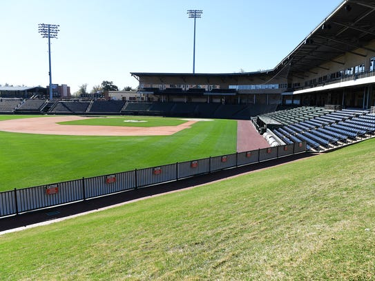 General admission seating on the hill at Fluor Field.