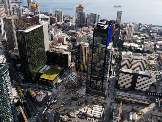 Amazon's headquarters in Downtown Seattle is anchored
