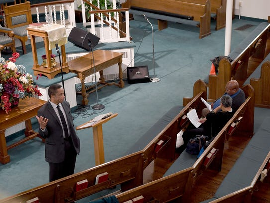 Pastor Dr. John H. Grant conducts bible study at Mount