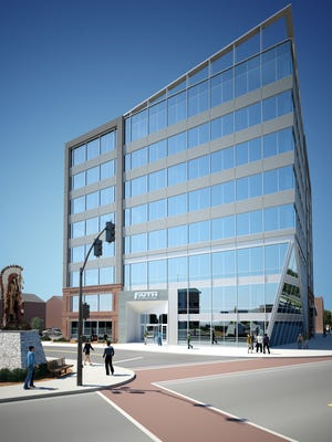 Faith Technologies would occupy the upper seven floors of an eight-story office tower in downtown Menasha, shown here in an illustration provided by the developer.