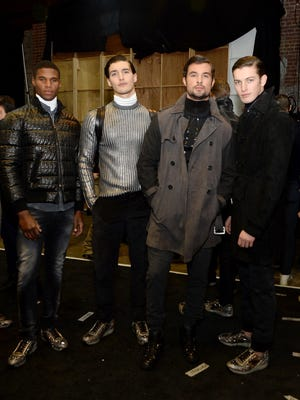 Models pose backstage at the Asaf Ganot fashion show during Mercedes-Benz Fashion Week.