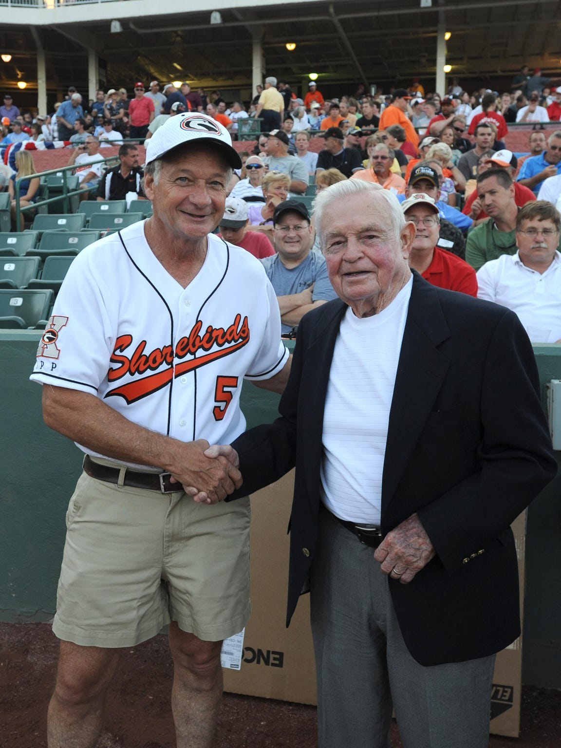 Jim Perdue and former Orioles Manager Earl Weaver pose
