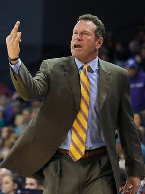 Grand Canyon coach Dan Majerle reacts to a call during the first half of a game against New Mexico last season.