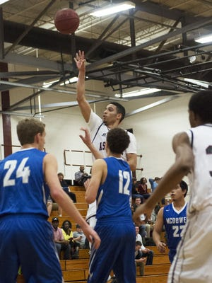 Asheville High's Damon Scott takes a shot during Friday's home win over McDowell.