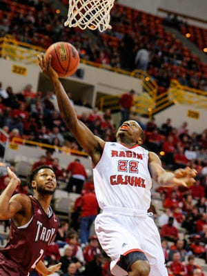Johnathan Stove takes it to the basket during a January game against Troy at the Cajundome.