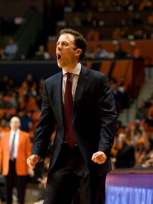 Feb 28, 2016; Champaign, IL, USA; Minnesota Golden Gophers head coach Richard Pitino reacts to action on the court during the first half against the Illinois Fighting Illini at State Farm Center. Mandatory Credit: Mike Granse-USA TODAY Sports