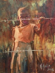 "Lambertville artist Kelly Sullivan's ""Barbed Wire"" is an oil on canvas inspired by the artist's visit to Uganda."