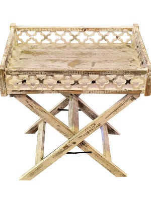 Distressed finish tray table,  $155.99, at Pizzaz.