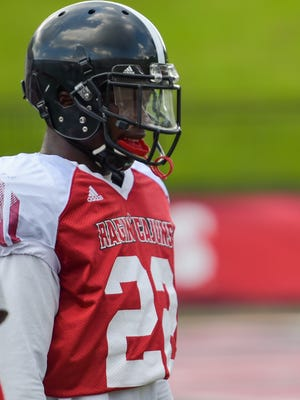 """UL safety Reginald """"Reggie"""" Miles, shown here at a practice earlier this year, is a former walk-on who made his first career start on defense against Appalachian State last week."""