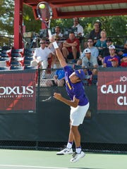 The Louisiana Ragin' Cajuns men's tennis team hosting seven of the top 35 teams in the country in the John Breaux Cajun Tennis Classic at the Culotta Tennis Center. September 23, 2016 (Pictured- Justin Butsch -LSU)