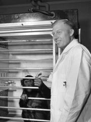 Dr. Marviin Grunzke and Ham, the space chimp.