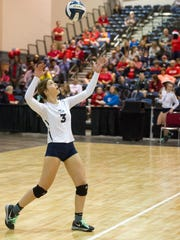 Avery Breaux serves as St Thomas More takes on Assumption in the LHSAA State Volleyball Finals. November 12, 2016.