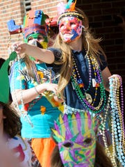 French Immersion students at Myrtle Place hold a Mardi
