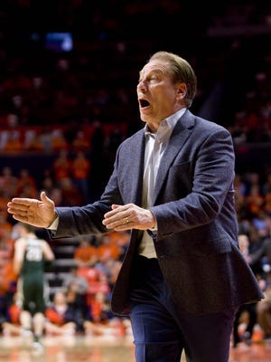 Mar 1, 2017; Champaign, IL, USA; Michigan State Spartans head coach Tom Izzo reacts to action on the court during the first half against the Illinois Fighting Illini at State Farm Center. Illinois beat Michigan State 73 to 70. Mandatory Credit: Mike Granse-USA TODAY Sports