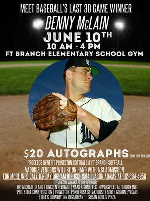 MLB's last 30-game winner Denny McLain will talk and sign autographs at Fort Branch Elementary School on June 10.
