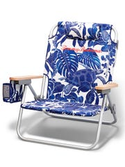 Tommy Bahama's turtle print deluxe backpack beach chair.