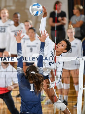 Penn State's Simone Lee attacks during a match earlier this year.