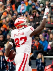 Indiana Hoosiers running back Morgan Ellison (27) celebrates