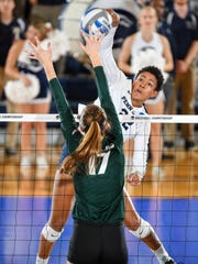 Penn State's Simone Lee (22) is seen here during the Nittany Lions' match with Michigan State. The No. 1 Penn State women's volleyball team earned it 13th NCAA Division I semifinal appearance with a sweep of No. 12 Spartans in the University Park Regional Final on Saturday evening Dec. 9, 2017, inside of Rec Hall.