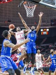 UL's Frank Bartley (4) scored all 19 of his points in the second half of Saturday's 87-65 win over UNO.