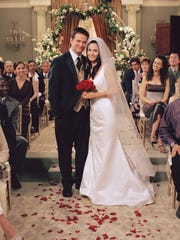 "The seasons-long romance between Chandler Bing and Monica Geller on ""Friends,"" the two finally tied the knot in Season 7."