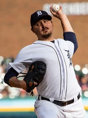 Tigers starting pitcher Blaine Hardy throws in the first inning against the Indians at Comerica Park.