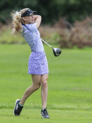 Maria Warner watches her tee shot in the girls 13-15 group during The First Tee of Canton Junior Tour at Skyland Pines on Monday, June 24, 2019. The First Tee 's junior tour kicks off its 2020 seven-week schedule at Pleasant View Golf Club on Monday.
