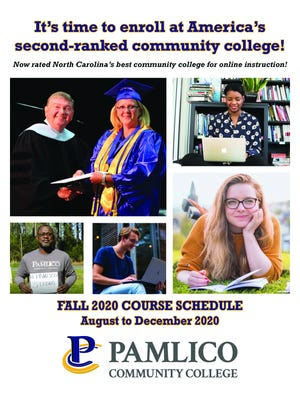 Pamlico Community College's 24-page Fall 2020 Course Schedule is now available online and in print. The booklet lists classes, programs and other learning opportunities available now through December.