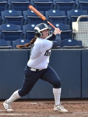 Penn State softball standout Alyssa VanDerveer swings against Bucknell.
