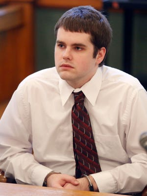 In this Nov. 25, 2013 photo Seth Techel sits at a bond hearing in Albia, Iowa. Techel, 23, is charged with first-degree murder in the death of his wife, Lisa. She was 23 and five months pregnant when she was killed in May 2012.