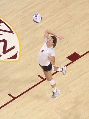 Freshman Madison McDaniel played on the right side Sunday and helped No. 17 ASU volleyball rally past Washington State.