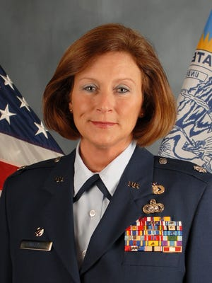 Tami Mielke, a lieutenant colonel in the South Dakota Air National Guard who suffered from PTSD after a deployment in Iraq in 2010, in her official portrait as Mission Support Group Commander.