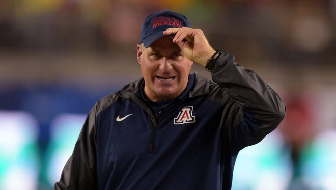 Arizona Wildcats coach Rich Rodriguez looks on from the sidelines against the Oregon Ducks in the Pac-12 Championship  at Levi's Stadium.