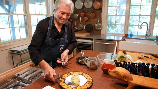 Chef Jacques Pepin in the kitchen at his home in Madison, Conn.  in 2011.