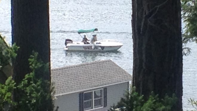 Deputies from the Putnam County Sheriff's Marine Unit near the site where Jenna Nolan was swimming in Lake Mahopac. The 14-year-old eighth-grader at Mahopac Middle School, was unconscious when pulled from the water around 1:30 p.m., June 20, 2014 in Lake Mahopac.