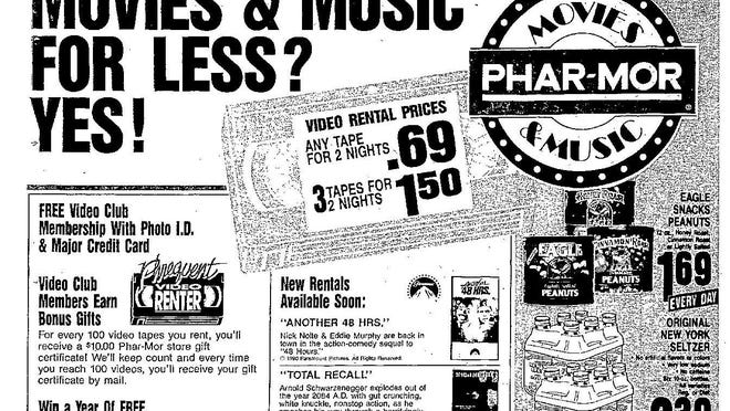 """In this Journal Star ad from 1990, Phar-Mor, 4100 W. Willow Knolls Road, touted its video-rental service, include 69-cent VHS rentals. At the time, Peoria was filled with video stores. Per this add, new rentals available soon would be """"Another 48 Hours"""" and """"Total Recall."""""""