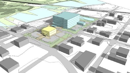 This rendering shows a proposed five-story judicial center behind the current Santa Rosa County Courthouse in downtown Milton. Project architect HOK will present the latest design proposals for a judicial facility at a special workshop at 9 a.m. Tuesday.