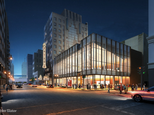 An architectural rendering of the Milwaukee Symphony's future home, the former Warner Grand Theatre on W. Wisconsin Ave.