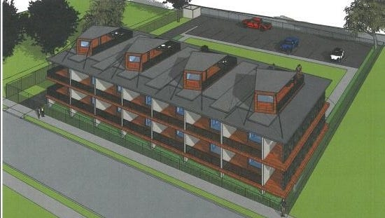 Thirty-two shipping containers would be used to build this 14-unit apartment building at 126 N. Bellevue.