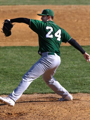 St. Joseph at Edison High School Baseball. St Joes Pitcher #24 Mike Farr Wednesday April 6, 2016 photo by Ed Pagliarini