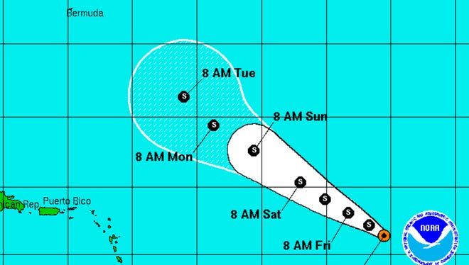 A graphic from the National Hurricane Center shows the position and forecast track of Tropical Storm Fiona at 11 a.m. on Thursday, August 18.