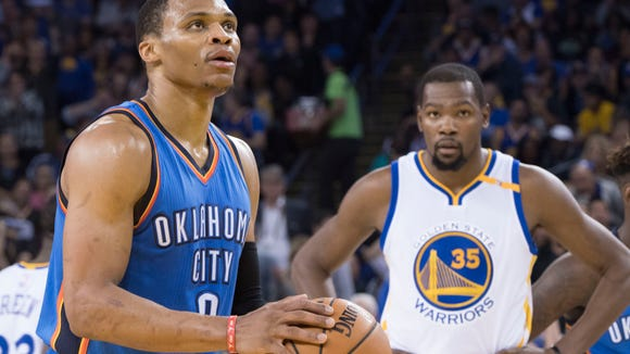 Russell Westbrook Kevin Durant NBA: Oklahoma City Thunder at Golden State Warriors