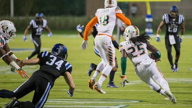Miami's Dallas Crawford (25) returns a kickoff,  which featured multiple laterals before Corn Elder subsequently received the final lateral, and scored to beat Duke 30-27 in an NCAA college football game, in Durham, N.C., on Saturday.