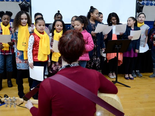 The Lincoln Charter School choir sings the school song during the annual MLK Sunday Supper, Sunday, January 14, 2018. John A. Pavoncello photo