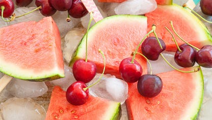 Fresh watermelon and cherries